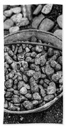 Bucket Of Rocks In Black And White Beach Towel