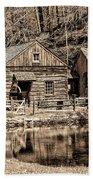 Bucks County - Cuttalossa Mill In Sepia Beach Towel