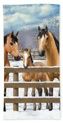 Buckskin Quarter Horses In Snow Beach Sheet by Crista Forest