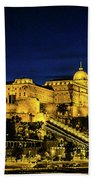 Buda Castle At Night Beach Towel