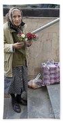 Budapest Flower Woman Beach Towel