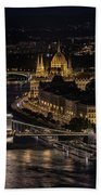 Budapest View At Night Beach Towel
