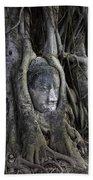 Buddha Head In Tree Beach Towel by Adrian Evans
