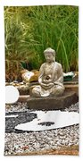 Buddha Looks At Yin And Yang Beach Towel
