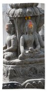 Buddha Statue At Temple - Swayambunat  Beach Towel