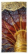 Buddhas Path To Enlightenment, Golden Umbrella Beach Towel