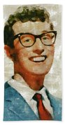 Buddy Holly By Mary Bassett Beach Towel
