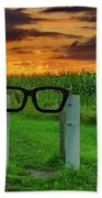 Buddy Holly Glasses Beach Towel