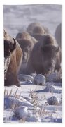 Buffalo In The Fog-signed-##6995 Beach Towel