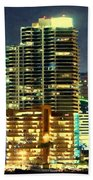 Building At Night With Lights Beach Towel