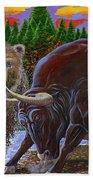 Bull And Bear Beach Towel