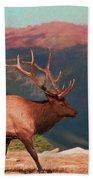 Bull Elk On Trail Ridge Road Beach Towel