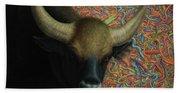 Bull In A Plastic Shop Beach Sheet