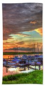 Bull River Marina Sunrise 2 Sunrise Art Beach Towel