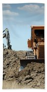 Bulldozer And Excavator On Road Construction Beach Towel