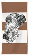 Bullmastiff And Pup Beach Towel