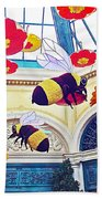 Bumble Bees And Poppies In Bellagio Conservatory In Las Vegas-nevada Beach Towel