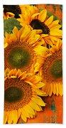 Bunch Of Sunflowers Beach Towel