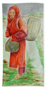 Bundled And Barefoot -- Portrait Of Old Asian Woman Outdoors Beach Towel