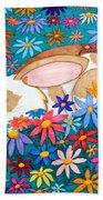 Bunny And Flowers Beach Towel