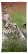 Bunny In The Lilies Beach Towel