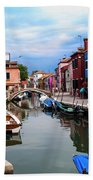 Burano Canal And Homes Beach Towel