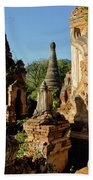 Burmese Pagodas In Ruins Beach Towel