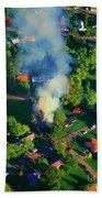 Burnin Down The House Aerial Single Family Home On Fire  Beach Towel