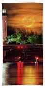 Burning Moon Rising Over Jupiter Lighthouse Beach Towel