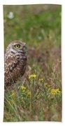 Burrowing Owl And Flowers Beach Towel