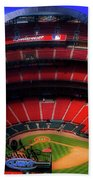 Busch Stadium A Zoomed View From The Arch Merged Image Beach Towel