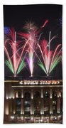 Busch Stadium Beach Towel by Andrea Silies