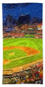 Busch Stadium At Night Rocks Beach Towel