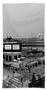Busch Stadium From The East Garage Black And White Beach Towel