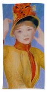 Bust Of A Woman Yellow Dress Beach Towel