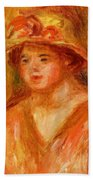Bust Of A Young Girl In A Straw Hat 1917 Beach Towel