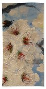 Busy Bumble Bee And Blossom.  Beach Towel