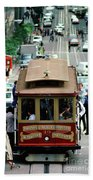 Busy Day On The California Street Cable Car Incline Beach Towel