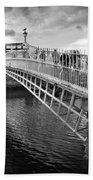Busy Ha'penny Bridge 2 Bw Beach Towel