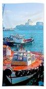 Busy Port Of Valparaiso-chile Beach Towel