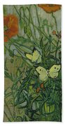 Butterflies And Poppies, 1890.  Beach Towel