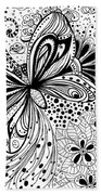 Butterfly And Flowers, Doodles Beach Towel