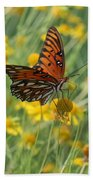 Butterfly And Flowers Beach Towel