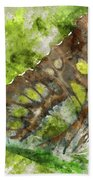 Butterfly Close Up Digital Watercolor On Photograph Beach Towel