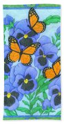 Butterfly Idyll-pansies Beach Towel