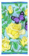 Butterfly Idyll-roses Beach Towel