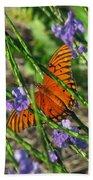 Butterfly In Blue Beach Towel