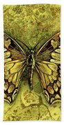 Butterfly In Golds-amber Collection Beach Sheet