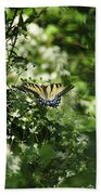 Butterfly In Muted Green Background Beach Towel