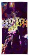 Butterfly Insect Black White  Beach Towel